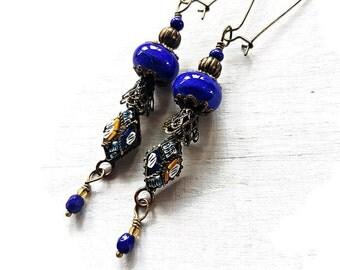 Blue Boho Lampwork earrings with Micro Mosaic Charms, Ink Blue Bohemian earrings, Long Gypsy dangles, Dark blue glass bead earrings, OOAK