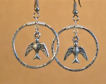 Bird Earrings, Handmade Earrings, Textured Wire Earrings, Hoop Earrings with Bird