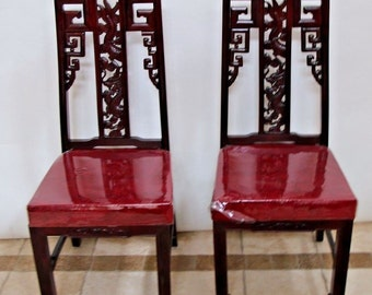 Vintage Matching Chinese Real Mahogany Dragon Carved Dining set of TWO Chairs Insured safe nationwide shipping available