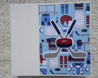 6x6 Blue and Red Hockey Chipboard Scrapbook Album
