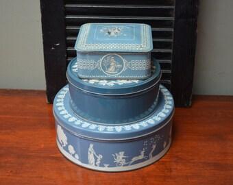 Blue Tins Wedgewood Jasperware Style Blue White Tins Canisters Storage Boxes Cottage Decor French Country Decor I Ship Internationally