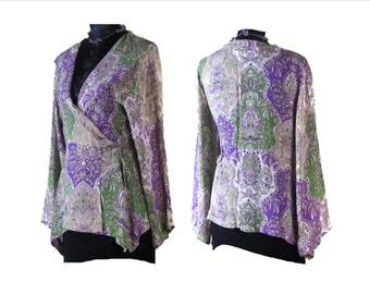 OPEN FRONT BLOUSE, vintage floral blouse, Tie belt blouse, Floral Chiffon Blouse, blouses, shirts, floral blouse, EuropeanRetroFashion