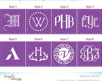 Reusable Glass Etching Stencil Monogram 28 Styles | Shot Glass Wine Glass | How-To Videos DIY Instructions for Cream and Paint