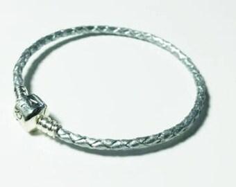 Genuine SILVER colour Braided Leather 20cm Bracelet PANDORA