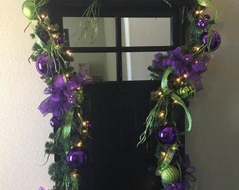 Purple/Lime Green Christmas Garland lights