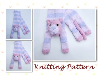 Knitting Pattern Cat Animal Scarf cheshire cat kitten character scarf knit scarf novelty scarf neck warmer