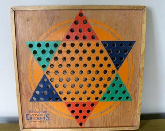 Vintage Chinese Checkers game board- 1938- STAR Checkers -L.G. Ballard Mfg -Topeka KS -all wood checkerboard -wall decor -game room- vintage