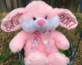 Personalized Stuffed Bunny, Name Rabbit, Baby Shower Gift, Easter Bunny, Easter Basket Toy, Children's Easter Gift, Easter Present,