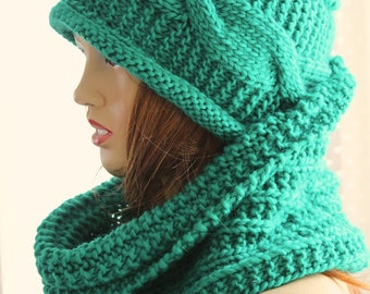 Green hat scarf set - Womens Hat Slouchy  Hat Slouchy Women Hat Slouch Beanie Cable Women Hat Oversized Hat Cable Hat Chunky Knit Hat Beanie