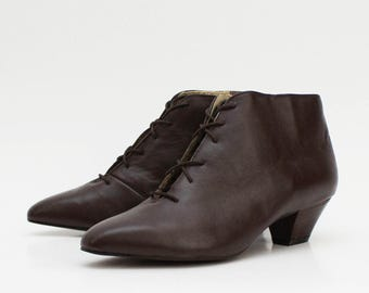 Brown Leather Ankle Boots - Vintage 1980s Lace Up Booties