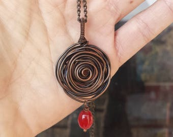 Copper necklace Flower and red coral / Unique copper jewelry