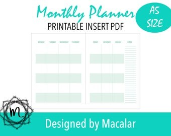 Monthly planner in two pages A5 inserts,Planner inserts, A5 planner pages, A5 planner inserts, Monthly planner 2017, Printable inserts.
