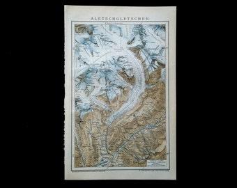 Original Map of the Aletsch Glacier, 1897, Vintage German Map