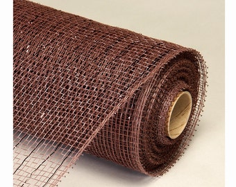 Decorative Poly Mesh Roll With Matching Metallic Stripes BROWN