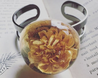 Wildflower in Resin Nature Hippie Forest Witch Cuff Bracelet