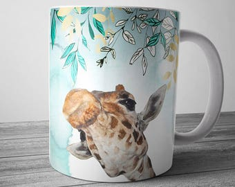Giraffe Mug April's Kiss, April Giraffe, Giraffe Gift, Floral Giraffe Coffee Mug, Mothers Day Gift, Cute Giraffe Coffee Cup, Office Mug