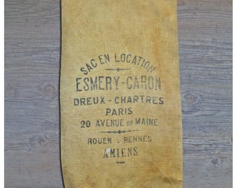 Authentic Vintage French Grain Sack  Jute From 1950