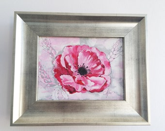 Poppy Flower, Flower paintings, Acrilic painting, Pink flower, Decoration flowers, Wall art