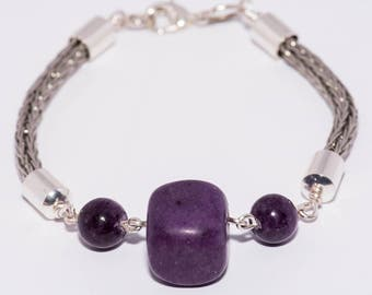 Viking knit bracelet with purple beads