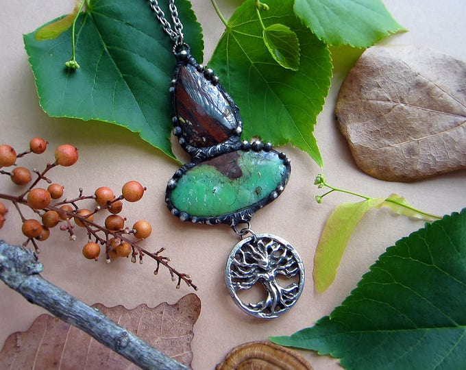 "Necklace ""Forest Goddess"" with Iron Tiger Eye, Chrysoprase, and 3D tree of life goddess pendant. Custom length stainless steel chain."