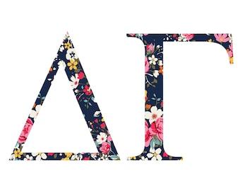 Delta Gamma Standard Greek Font Floral Print Letter Sticker Outside Car/Computer dg