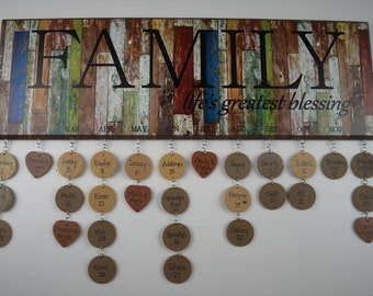 Personalized and Assembled Family Birthday Board Reclaimed Wood Look  FBRBA