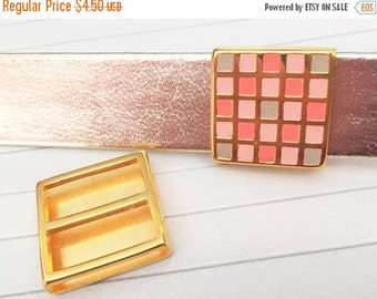 20mm Gold Pink Coral Checkerboard Slider, Leather cord, 20mm Flat Leather Finding, Jewelry supplies,