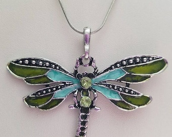Hand painted Enamel Silver Dragonfly Necklace