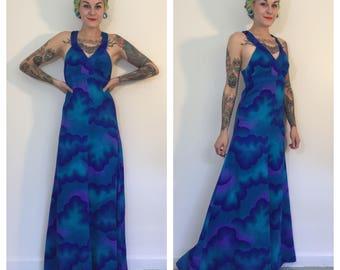 Vintage 1960's Blue Cloud Maxi Dress