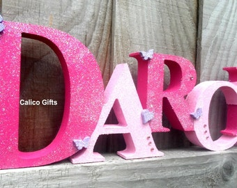 handmade wooden name freestanding name new baby gift sparky name nursery decor