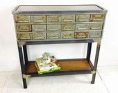 Vintage Card Catalog/Parts Bin Drawer Console/Media Table with Walnut Shelf