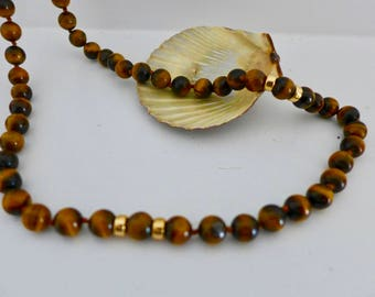 Vintage Tiger Eye Necklace with Gold Beads / Hand Tied Necklace Tiger Eye Necklace