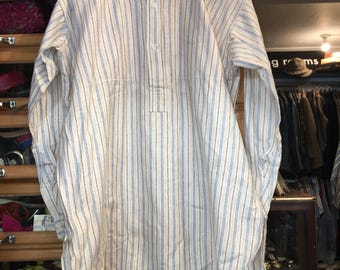 Vintage Mens 1920s 1930s Cotton Stripe Collarless Shirt Grandad Thick Quality 15 Collar Dreadnought English XL