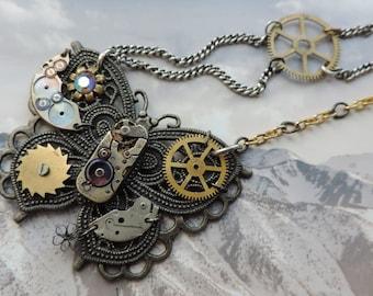 """Jewelry designer steampunk. Necklace """"Butterfly alien""""."""