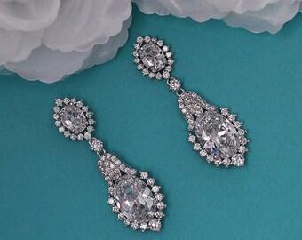 Dangle Bridal Earrings CZ Swarovski Crystal Chandelier Earrings Vintage Cubic Zirconia Bridal Wedding Jewelry Prom Drop Earrings 048