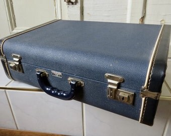 Blue White Suitcase Christie Baggage Hard Sided Vintage Suitcase Mid Century Home Decor Country Cottage Storage