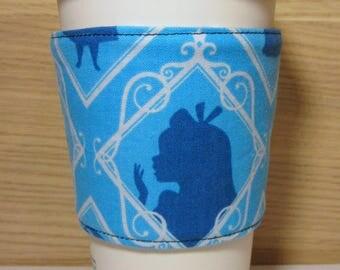 Alice in Wonderland Silhouette Reversible Fabric Coffee Cozy