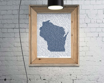 Wisconsin Breweries Poster, 11x14, Breweries of Wisconsin Print on Paper