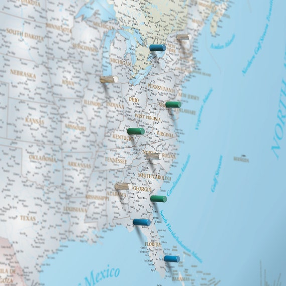 North America Magnetic Push Pin Travel Map Pushpin by WallArtMaps – Magnetic Travel Map