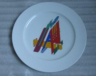 "ROSENTHAL Germany. Marcello Morandini. Porcelain ""Alphabet"" plate. Letter A from the alphabet series. Ø 31 cm. Midcentury MODERNIST. VINTAGE"
