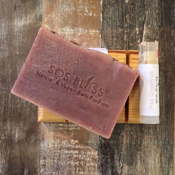 Gifts Under 20 Holiday Day Gift Set 3 Piece Spa Set Natural Soap Vegan Lip Balm Wooden Soap Dish Christmas Gift Spa Set