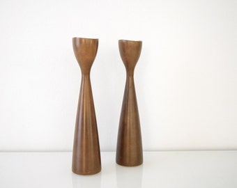mid century candlesticks, candle holders, beautiful sculptural Danish modern candlestick holders, vintage