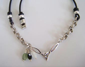 Leather and Chain Celtic Focal Necklace- Item S0686