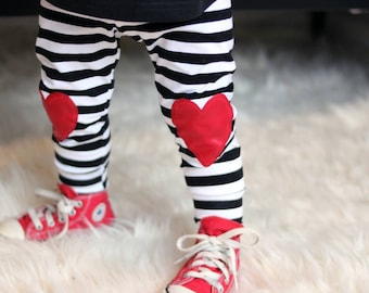 black and white striped baby leggings or harems, with heart knee patch toddler leggings, baby's first valentine's day, kneepatch