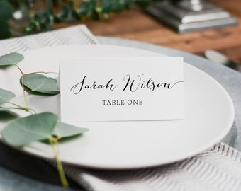 DIY Printable Wedding or Party Event Place Cards in Gold, Black or a Custom Colour | Placecard | Name Card | Simple Vintage Script