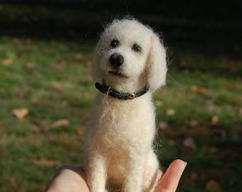 Med/Large Custom Miniature Needle Felted Dog - Pet Portrait Sculpture