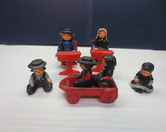 Vintage Amish Cast Iron or Lead Assorted Hand Painted Figurines Americana