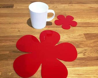 Daisy Shaped Placemats or Placemats & Coasters - in Red Gloss Finish Acrylic 3mm