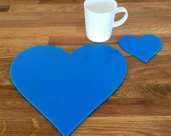 Heart Shaped Placemats or Placemats & Coasters - in Bright Blue Gloss Finish Acrylic 3mm