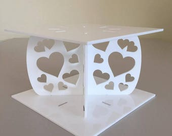 """Hearts Square White Gloss Acrylic Cake Pillars/Cake Separators, for Wedding / Party Cakes 10cm 4"""" High, Size 6"""" 7"""" 8"""" 9"""" 10"""" 11"""" 12"""""""